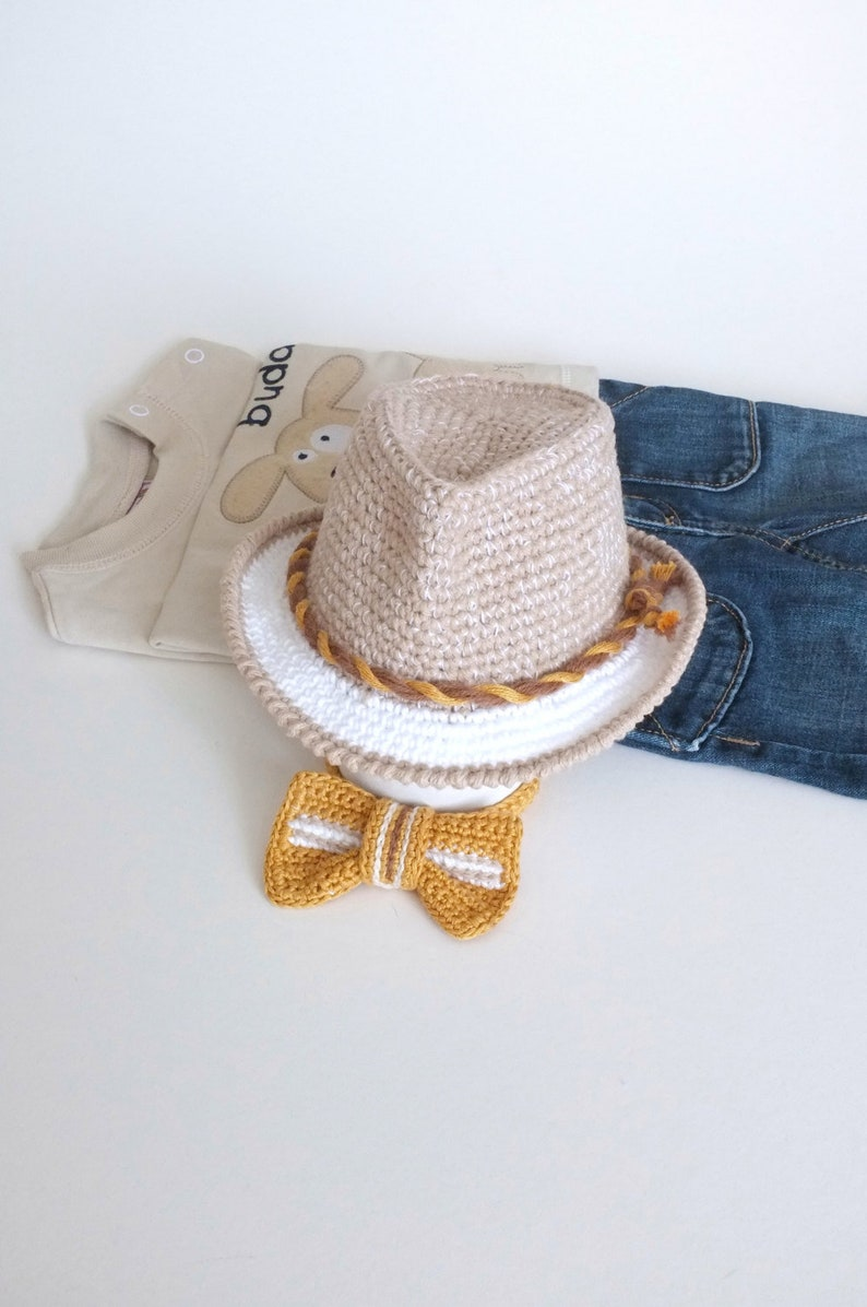 b04a119b0 Baby Fedora Hat and Bow Tie Set Newborn Photography Props Baby Boy Shower  Gift Natural Colours Crochet Cotton Baby Hat Summer Hat