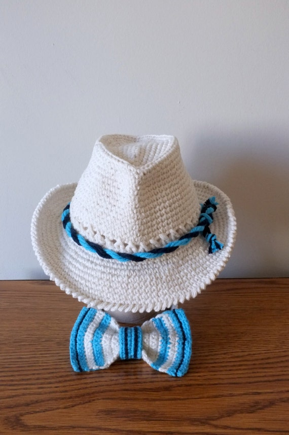 b5579c2ff1b Crochet Baby Fedora Hat and Bow Tie Set Toddler Summer Panama