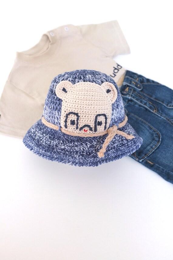 68b4ba1d36f Baby Boys Summer Hat Crochet Toddler Denim Sun Hat Cotton