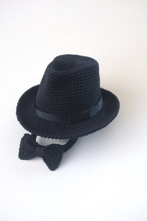 Black Baby Fedora Hat with Bow Tie Baby Photo Props Baby Boy  a4c5fc503b1