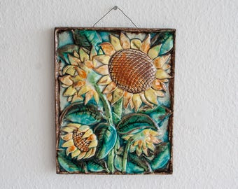 KARLSRUHE Majolica Sunflower Wall Plaque German Design Ceramic Germany Decoration Art Pottery Mid Century Modern mcm Tile