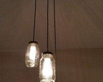 Three Light Mason Jar Pendant