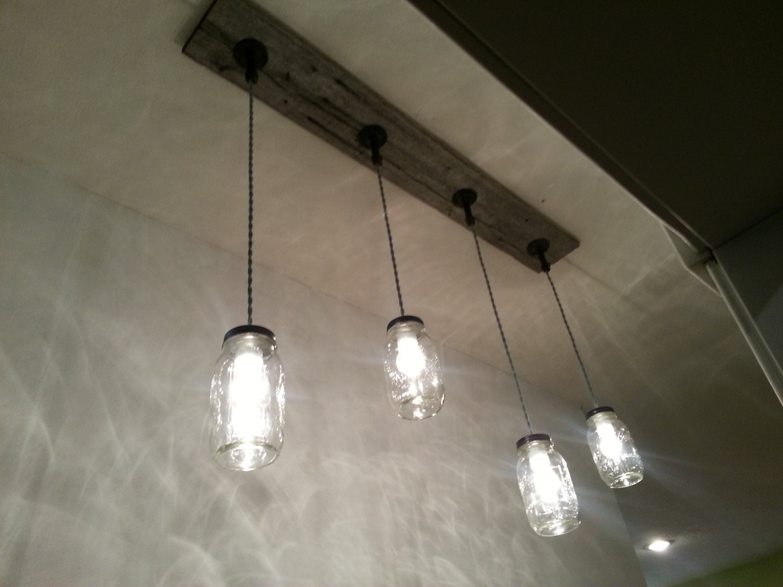Pictures Of Hanging Light Fixtures: Barnwood Mason Jar Light Fixture 4 Light Hanging Ceiling