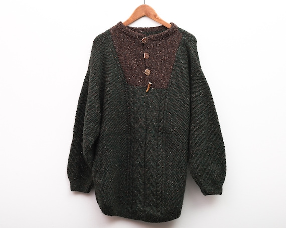 Knitted Sweater Vintage Men's 2XL Wool Chunky Jump