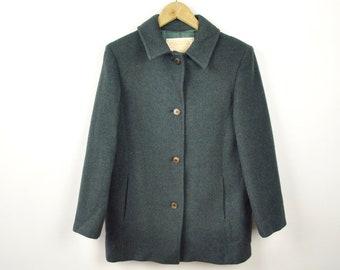 Pendleton Made in USA US 12 Wool Women UK 16 Over Pea Coat Jacket Navy Green vintage Ladies Jacket Winter Formal Large warm parka overcoat 9
