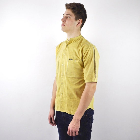 Vintage linen yellow short sleeved blouse,top.one-size