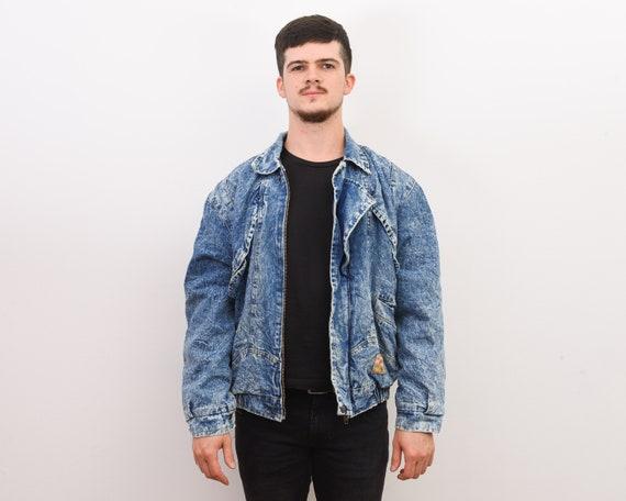 Vintage Men's L Denim Jacket Retro Blue Acid Wash