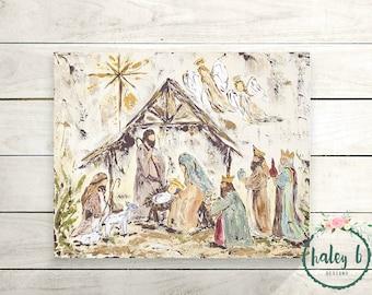 Nativity Art Print, Nativity Painting, Manger Scene, Christmas Decor, Christmas Art, Christmas Gift, Rustic Christmas Art