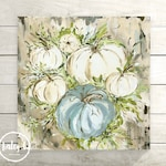Pumpkin Art Print, Neutral Fall Decor, White Pumpkins, Blue Pumpkin, Farmhouse Fall, Pumpkins, Pumpking Painting, Fall Art, Fall Painting