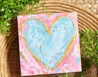 """6"""" Abstract Heart Painting #38, Heart Art, Heart Decor, Valentine Painting, Valentine Decor, Valentine Gift, Heart Abstract, Original Art"""