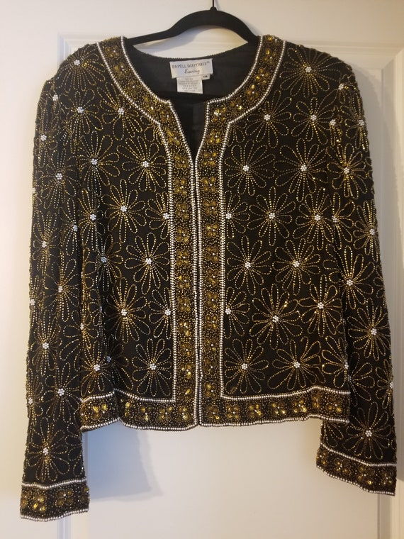 Vintage Sequins Jacket with Floral Design