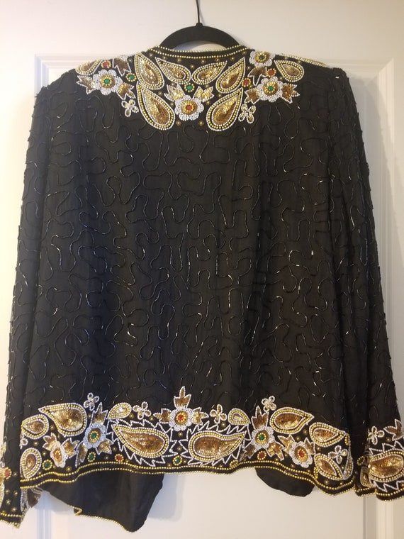 Vintage Sequins Jacket with Paisley Design - image 9