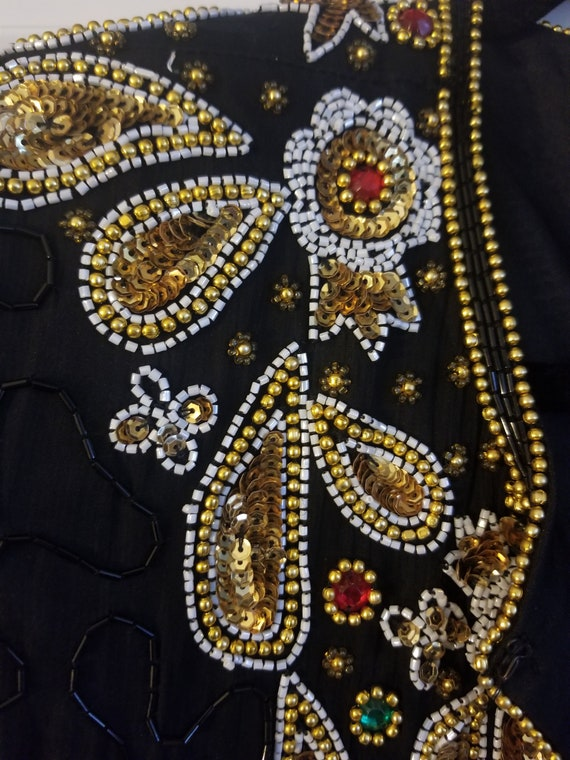 Vintage Sequins Jacket with Paisley Design - image 5