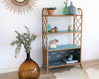 SALES - Mid century storage, bookcase, dresser, vintage, rattan storage, mid century modern, 60s, blue, Paulette model