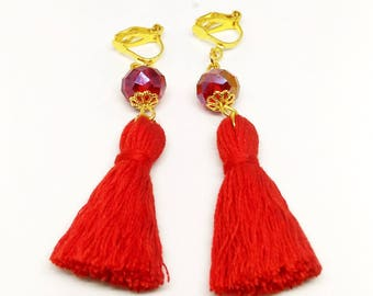 Red Tassel Earrings Red Earrings Red Crystal Earrings Red Clip On Earrings Handmade Earrings Red Crystal Glass Earrings Clip Tassel Earrings