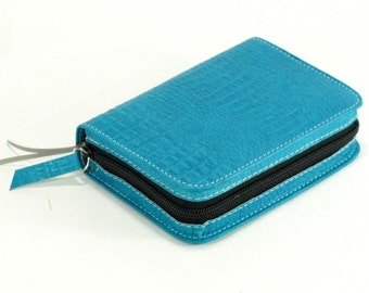 Small Pocket Size New World Translation - Bible Cover - Turquoise Blue Leather