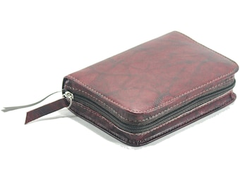 Small Pocket Size NWT - New World Translation Bible Cover Jehovah's Witness - Red Wine / Burgundy Leather