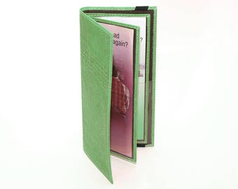 Green Tract Holder for Jehovah's Witnesses - Leather Service Items