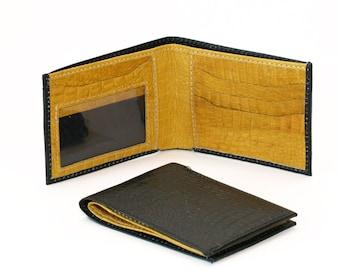 Men's Two-Tone Bifold - Genuine Leather Wallet - Black & Yellow