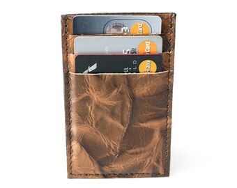 Slim Mens Card Holder Wallet - Genuine Leather - Brown Two Tone