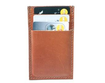 Slim Mens Card Holder Wallet - Genuine Leather - Brown