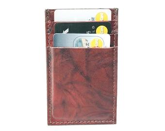 Slim Mens Card Holder Wallet - Genuine Leather - Red Wine