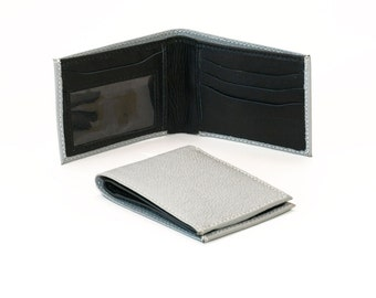 Genuine Leather Men's Two-Tone Bifold Real Leather Wallet - Gray & Black