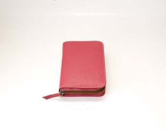 MEDIUM Jehovah's Witness Bible Cover for New World Translation - NWT Medium Size with Zipper - Pink Rose Genuine Leather (Smooth Texture)