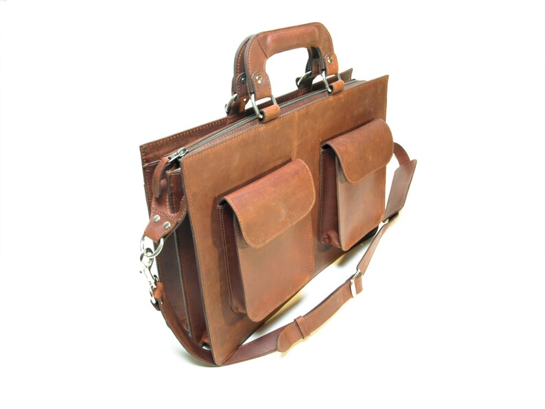 Genuine Leather Men's Leather Briefcase image 0