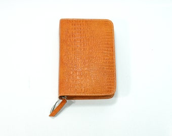 SMALL Bible Cover for Jehovah's Witnesses - NWT New World Translation Small Pocket Size w/ Zipper - Orange Genuine Leather