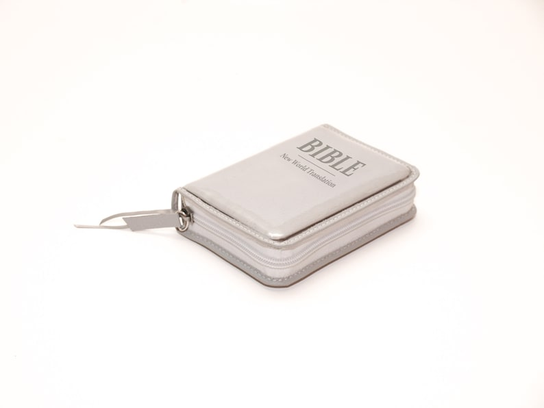 SMALL Bible Cover for Jehovah's Witnesses New World Light Gray Zipper