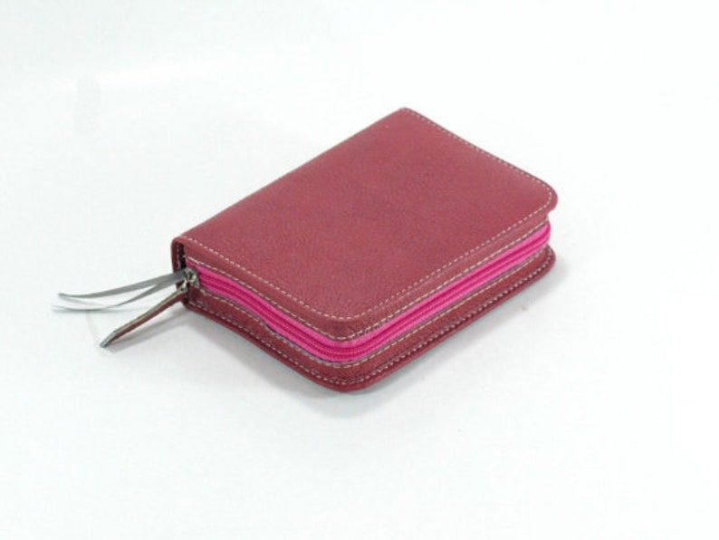 SMALL Genuine Leather Small Pocket Size  Pink Pebble Leather image 0