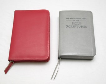 Standard Size NWT - New World Translation Zipper Bible Cover Jehovah's Witness -  Pink Rose Leather