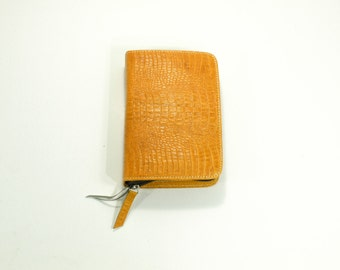 MEDIUM Bible Cover for Jehovah's Witnesses New World Translation - NWT Medium Size with Zipper - Yellow Genuine Leather (Crocodile Texture)