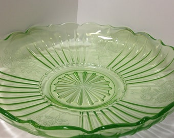 Anchor Hocking Green Glass Bowl, Mayfair Open Rose Bowl, Shallow Bowl, Green Tray, Fruit Bowl