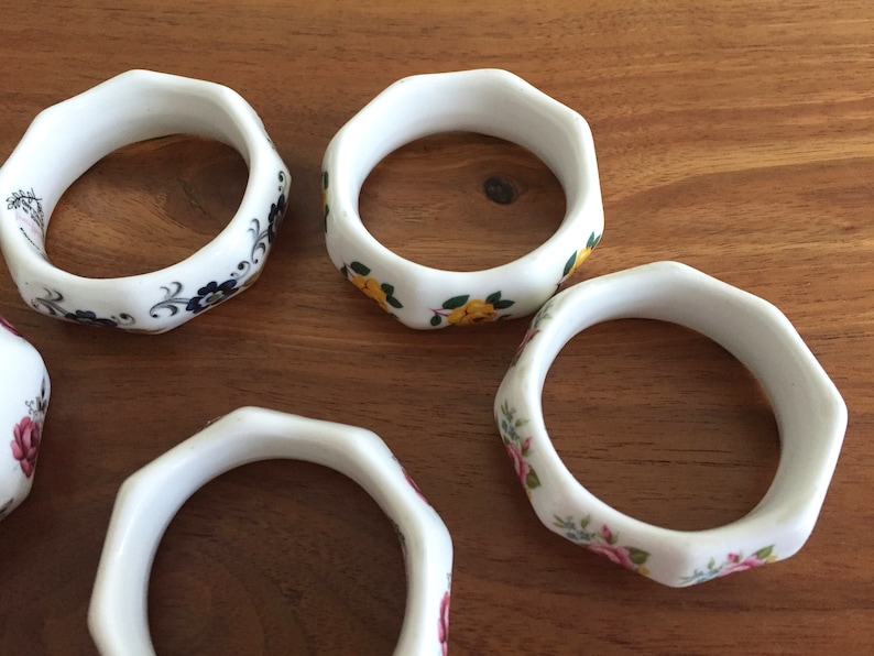 Sandford Bone China Floral Napkin Rings Tea Party Table Decorations Made in England