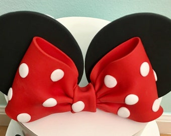 Edible Mouse Polka Dots Red Bow and Ears Cake Topper - Polka dots red