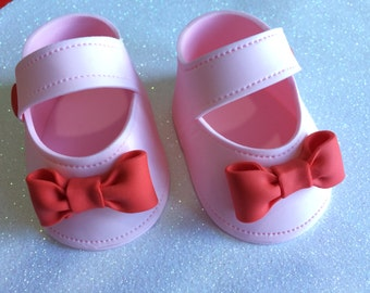 Baby shower cake toppper  Pink baby girl shoes with bow gum paste fondant ccb47c6db7bd