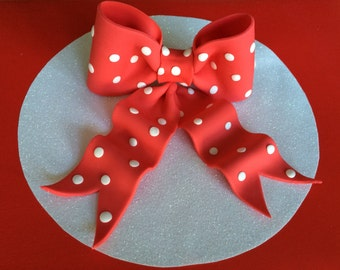 Red bow with white dots gum paste fondant for birthday cake