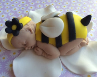 Bumble Bee Baby Girl Shower Cake Topper - bumble bee baby gum paste.