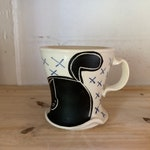 Cute handmade porcelain black cat mug