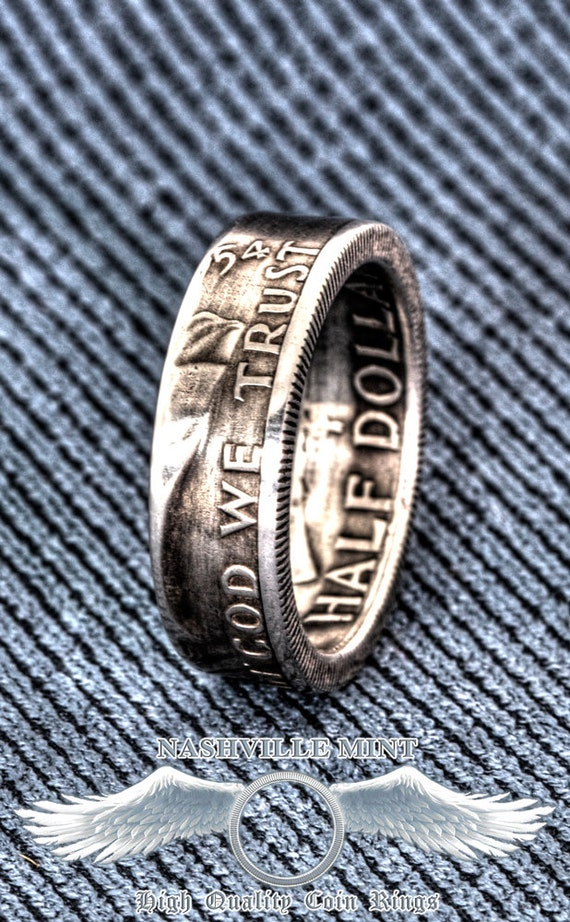 """1956 Sizes 8-15 Silver half dollar coin ring /"""" In God we trust /"""" /""""Liberty/"""""""