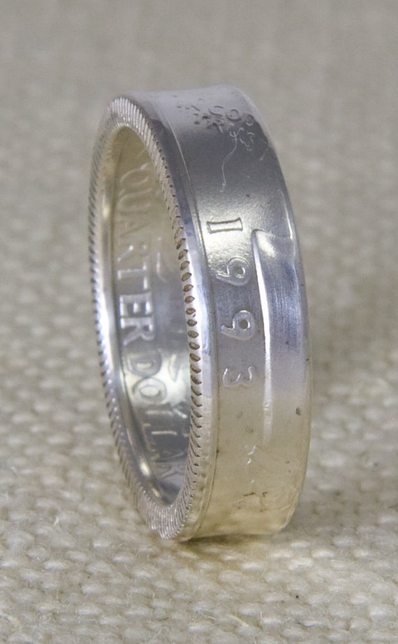 Coin Ring 1993 Silver Proof Quarter Dollar Coinring Band Size Etsy
