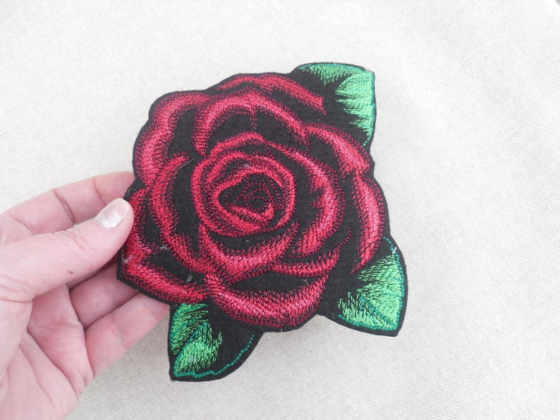 tumblr patches Red Rose iron on patch flower patch novelty patches cute rose Rose applique Patches for jackets