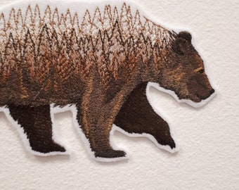 Forest Bear iron on patch Iron on Patch Patches for jackets Wild Forrest Animal Bear Trees Sillhouette in Nature