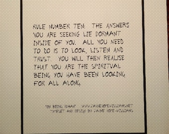 """RULE NUMBER 10 from the poem """"On Being Human"""""""