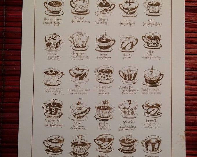 TEA LEAF READING.  An easy to read, easy to follow A3 poster guide to tea leaf patterns ready to frame or use.
