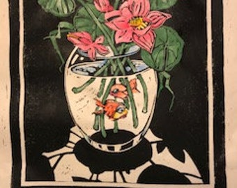 Lotus in a Goldfish Bowl. A hand coloured lino-cut print on Awagami Japanese Rice paper
