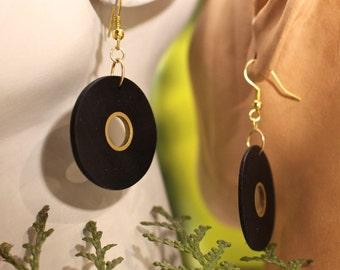 Ebony and brass earrings (176)