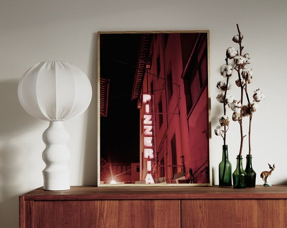 Photography art print of a neon Pizzeria sign in Pisa, Italy. Printed on high quality, matte paper.